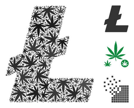Litecoin mosaic of marijuana leaves in different sizes and color shades. Vector flat cannabis leaves are united into Litecoin mosaic. Addiction vector design concept.