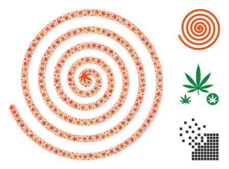Hypnosis spiral composition of marijuana leaves in various sizes and color tones. Vector flat marijuana objects are composed into hypnosis spiral illustration. Addiction vector illustration.