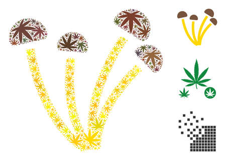 Mushrooms composition of cannabis leaves in different sizes and color variations. Vector flat cannabis leaves are organized into mushrooms illustration. Narcotic vector design concept.