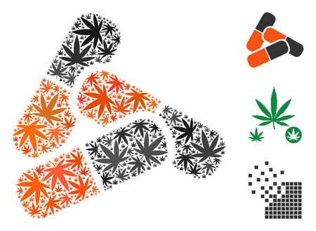 Pills collage of hemp leaves in variable sizes and color hues. Vector flat cannabis elements are grouped into pills collage. Drugs vector design concept.