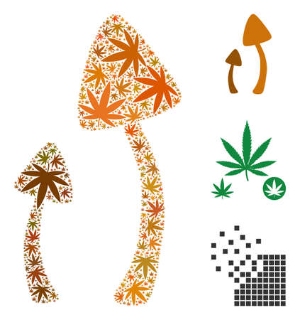 Psychedelic mushrooms collage of marijuana leaves in various sizes and color hues. Vector flat marijuana leaves are organized into psychedelic mushrooms collage. Herbal vector illustration.