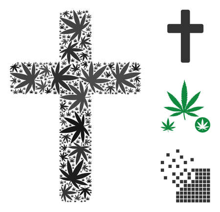 Religious cross composition of cannabis leaves in various sizes and color tinges. Vector flat grass leaves are combined into religious cross composition. Drugs vector illustration. Illustration