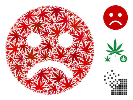 Sad mood smiley collage of hemp leaves in variable sizes and color variations. Vector flat hemp objects are organized into sad mood smiley collage. Drugs vector design concept. Illustration