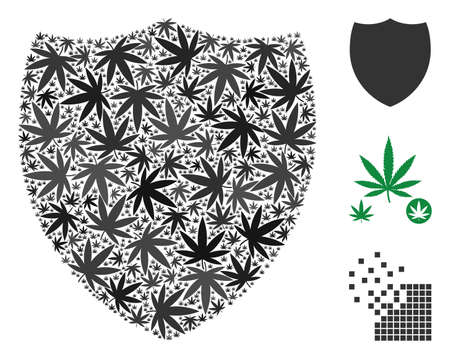 Shield composition of weed leaves in variable sizes and color variations. Vector flat weed elements are grouped into shield composition. Narcotic vector illustration.