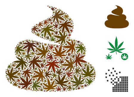 Shit mosaic of marijuana leaves in various sizes and color tones. Vector flat marijuana objects are grouped into shit mosaic. Addiction vector illustration. Vettoriali