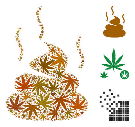 Shit smell composition of cannabis leaves in different sizes and color variations. Vector flat hemp leaves are united into shit smell collage. Herbal vector design concept. Illustration