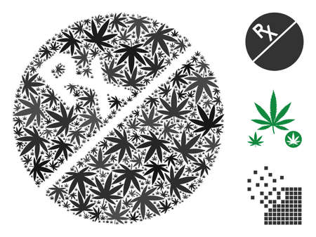 Tablet mosaic of marijuana leaves in various sizes and color hues. Vector flat weed leaves are united into tablet mosaic. Herbal vector illustration.