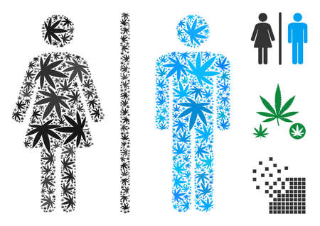 Toilet persons collage of marijuana leaves in variable sizes and color tints. Vector flat grass icons are combined into toilet persons collage. Herbal vector illustration.