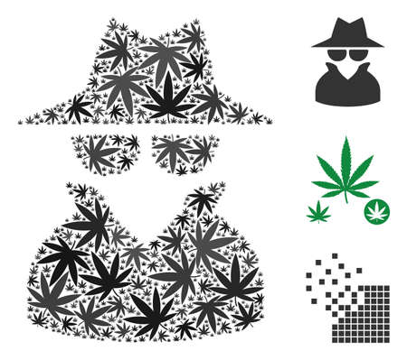 Spy composition of cannabis leaves in different sizes and color tints. Vector flat cannabis leaves are grouped into spy mosaic. Addiction vector design concept. Ilustração