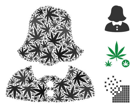Woman mosaic of cannabis leaves in various sizes and color shades. Vector flat grass symbols are grouped into woman illustration. Herbal vector illustration.