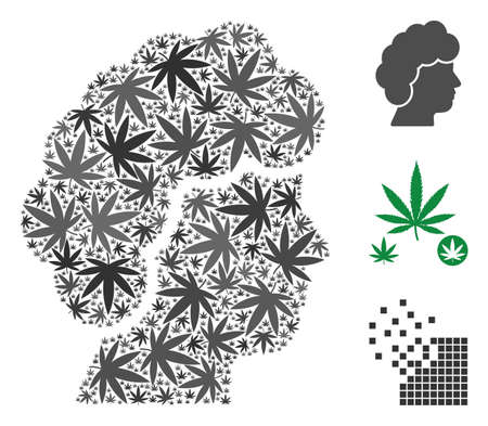 Woman profile collage of hemp leaves in various sizes and color tints. Vector flat weed leaves are combined into woman profile shape. Narcotic vector design concept.