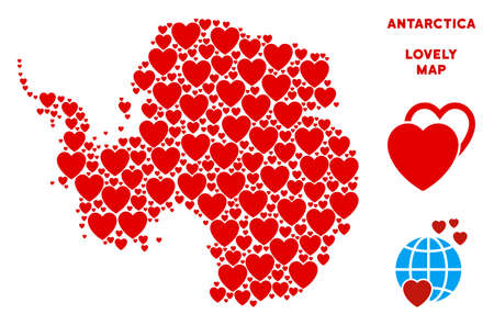 Love Antarctica map collage of red hearts. We like Antarctica map template. Abstract vector geographic plan is created from red love icons. Ilustrace