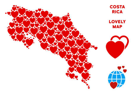 Love Costa Rica map collage of red hearts. We like Costa Rica map concept. Abstract vector area plan is organized from red favorite items. Иллюстрация