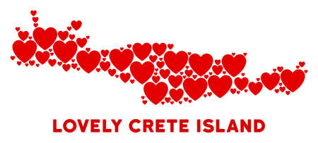 Romantic Crete Island map mosaic of red hearts. We like Crete Island map template. Abstract vector geographic scheme is constructed from red romantic items.