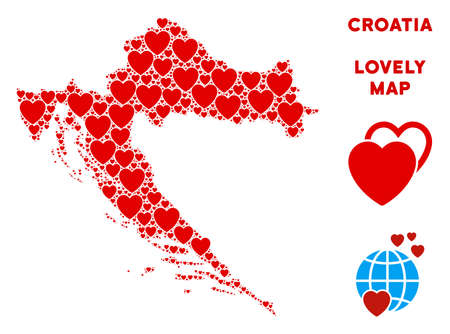 Romantic Croatia map collage of red hearts. We like Croatia map template. Abstract vector area scheme is formed of red love icons. Vectores