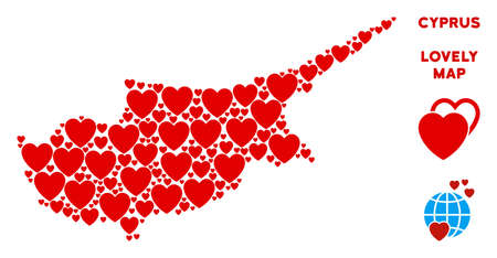 Romantic Cyprus Island map composition of red hearts. We like Cyprus Island map template. Abstract vector territory plan is formed of red heart icons.
