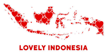 Lovely Indonesia map mosaic of red hearts. We like Indonesia map concept. Abstract vector territorial scheme is formed of red passion symbols. Illustration