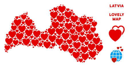 Romantic Latvia map mosaic of red hearts. We like Latvia map template. Abstract vector territory scheme is done with red romantic elements.