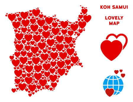 Romantic Koh Samui map mosaic of red hearts. We like Koh Samui map concept. Abstract vector area plan is formed of red heart items. Illustration