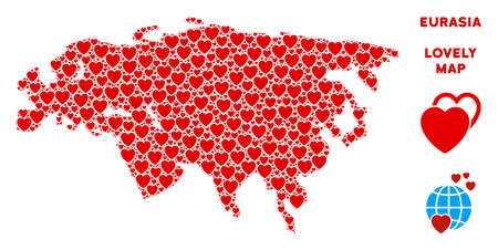 Love Eurasia map mosaic of red hearts. We like Eurasia map template. Abstract vector geographic plan is shaped with red love icons.