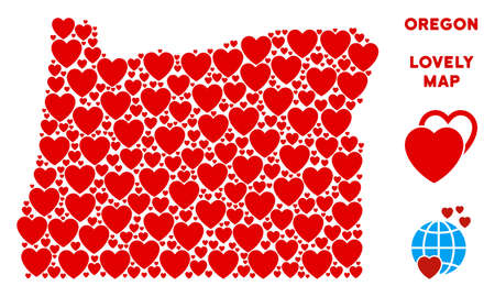 Romantic Oregon State map mosaic of red hearts. We like Oregon State map concept. Abstract vector geographic plan is formed of red lovely symbols.