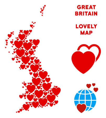 Love Great Britain map collage of red hearts. We like Great Britain map template. Abstract vector geographic plan is composed from red love elements. Illustration