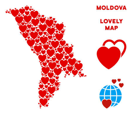 Valentine Moldova map mosaic of red hearts. We like Moldova map concept. Abstract vector territory scheme is formed of red romantic icons. Illustration