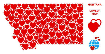 Valentine Montana State map composition of red hearts. We like Montana State map concept. Abstract vector geographic scheme is composed from red valentine symbols.