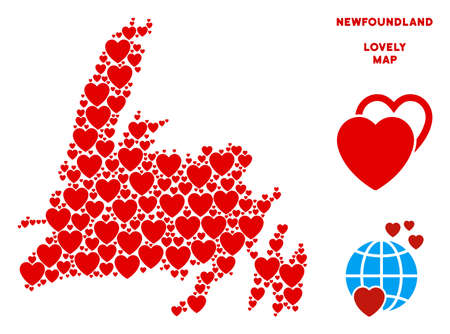 Love Newfoundland Island map collage of red hearts. We like Newfoundland Island map template. Abstract vector territory scheme is formed of red passion elements.