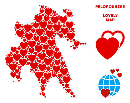 Love Peloponnese Peninsula map mosaic of red hearts. We like Peloponnese Peninsula map template. Abstract vector territory scheme is organized from red love items.