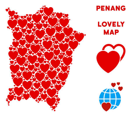 Romantic Penang Island map collage of red hearts. We like Penang Island map template. Abstract vector area scheme is constructed from red romantic elements.