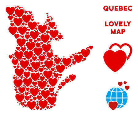 Lovely Quebec Province map composition of red hearts. We like Quebec Province map concept. Abstract vector territorial plan is constructed from red lovely elements.