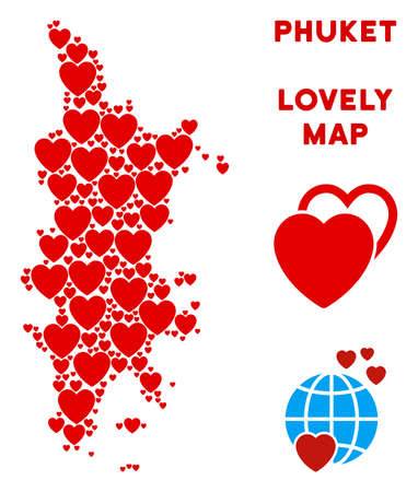 Romantic Phuket map composition of red hearts. We like Phuket map template. Abstract vector area plan is formed of red valentine elements.