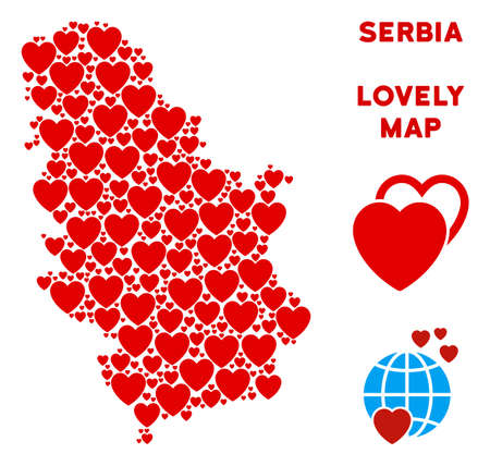 Love Serbia map composition of red hearts. We like Serbia map template. Abstract vector territory scheme is formed of red romantic symbols. Ilustração