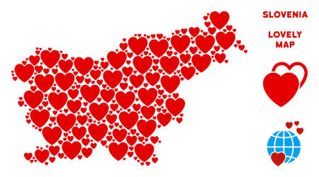Valentine Slovenia map collage of red hearts. We like Slovenia map template. Abstract vector territory plan is formed of red favorite elements. 일러스트