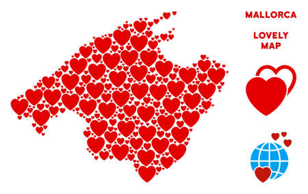 Romantic Spain Mallorca Island map collage of red hearts. We like Spain Mallorca Island map concept. Abstract vector territorial scheme is formed of red lovely icons.