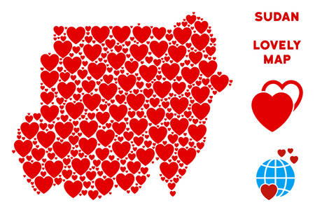 Lovely Sudan map mosaic of red hearts. We like Sudan map template. Abstract vector geographic plan is formed of red romantic icons. Vetores