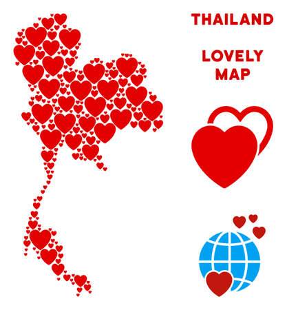 Valentine Thailand map mosaic of red hearts. We like Thailand map template. Abstract vector territorial scheme is formed of red lovely items. Иллюстрация