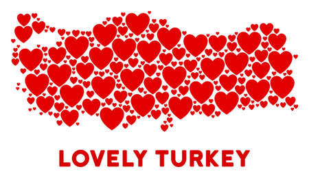 Love Turkey map mosaic of red hearts. We like Turkey map concept. Abstract vector territory scheme is organized from red love symbols.