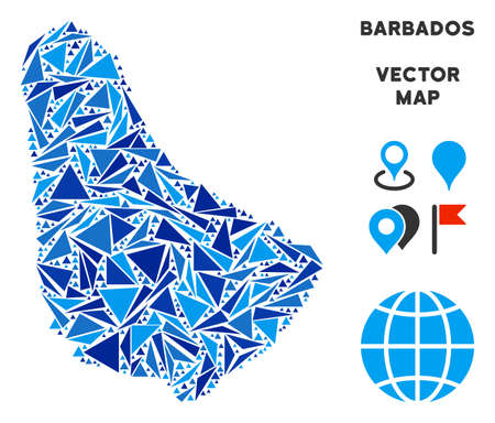 Barbados map mosaic of blue triangle items in variable sizes and shapes. Vector polygons are arranged into geographic Barbados map illustration.