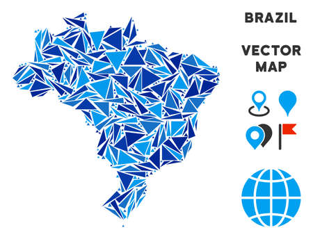 Brazil map collage of blue triangle items in variable sizes and shapes. Vector polygons are composed into geographic Brazil map illustration.