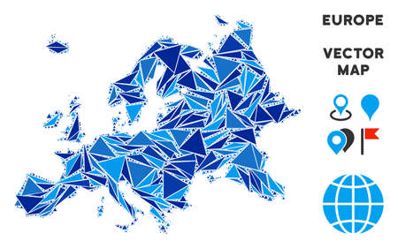 Europe map collage of blue triangle items in variable sizes and shapes. Vector polygons are arranged into geographic Europe map collage.