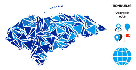 Honduras map mosaic of blue triangle items in various sizes and shapes. Vector polygons are arranged into geographic Honduras map mosaic. Geometric abstract vector illustration in blue color hues.