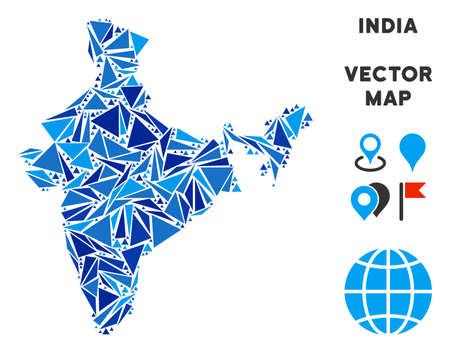 India map collage of blue triangle elements in various sizes and shapes. Vector triangles are arranged into geographic India map mosaic. Geometric abstract vector illustration in blue color tints. Vektorové ilustrace