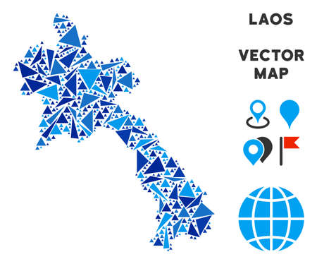 Laos map collage of blue triangle items in variable sizes and shapes. Vector polygons are arranged into geographic Laos map collage. Geometric abstract vector illustration in blue color variations. Ilustração