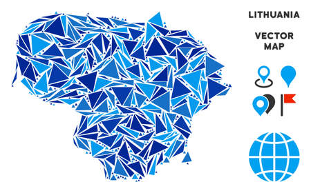 Lithuania map collage of blue triangle items in various sizes and shapes. Vector polygons are united into geographic Lithuania map illustration. Ilustração