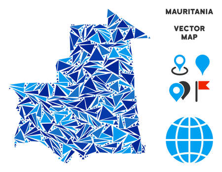 Mauritania map mosaic of blue triangle elements in various sizes and shapes. Vector polygons are grouped into geographic Mauritania map illustration.