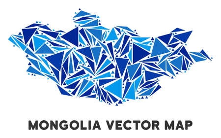 Mongolia map collage of blue triangle items in variable sizes and shapes. Vector polygons are organized into geographic Mongolia map illustration.