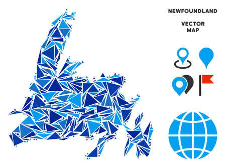 Newfoundland Island map mosaic of blue triangle items in variable sizes and shapes. Vector triangles are organized into geographic Newfoundland Island map illustration.