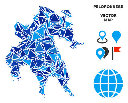 Peloponnese Peninsula map collage of blue triangle items in variable sizes and shapes. Vector triangles are organized into geographic Peloponnese Peninsula map collage.